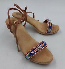 Sbicca Ladies Vintage Shoes High Heel Slingback Open Toe Native Beaded Look 7
