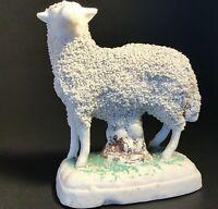 "ANTIQUE STAFFORDSHIRE CONFETTI SHEEP FIGURINE 3 1/4""H RARE 1800'S ENGLAND"