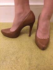 "Ladies Brown Leather Size 6 Platform 5"" High Heel Aldo Shoes"