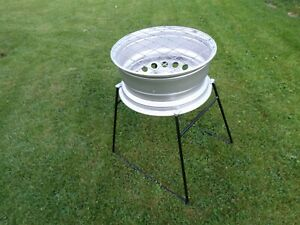 """Upcycled """"POSH"""" Steel Wheel Redneck BBQ/Firepit/Brazier with Fixed Steel Stand"""