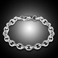 Retro Women 925 Silver Plated Bracelet Ring Link Bangle Chain Fashion Jewelry