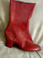Vintage 40s Rain Boot Over Shoe Galoshes Red zipper 8