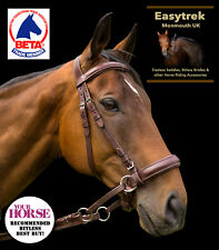 Extra Full Easytrek brown leather bitless bridle & reins side pull hackamore