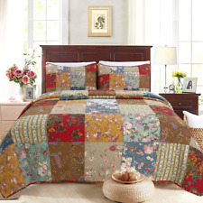 NEW! ~ COZY CHIC COTTAGE BLUE RED BROWN GREEN LEAF YELLOW PATCHWORK QUILT SET