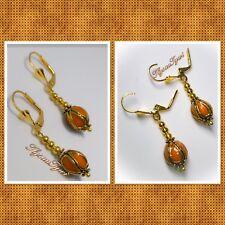 Handcrafted Short Drop Earrings...Fancy Leverbacks..Pale Coral Colour...