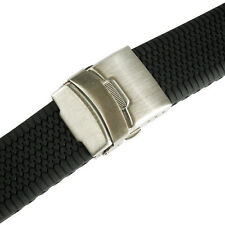 20mm deBeer 962 Mens Black Silicone Rubber Deployant Dive Watch Band Strap