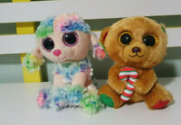 TY BEANIE BOOS RAINBOW POODLE AND BELLA DOG 15CM