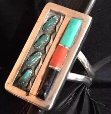 Rena King Zuni Ring Sz 6.25 Vintage Estate Sterling Silver Coral Turquoise Onyx