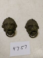 ANTIQUE WELCH  MANTLE CLOCK KNOCKER STYLE LION'S HEAD SIDE DECORATIONS