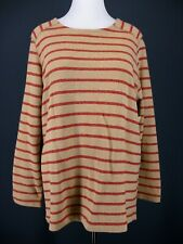 COLDWATER CREEK Sweatshirt 2X Beige Red Striped NEW NWT French Terry