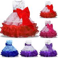 Flower Girl Kids Toddler Big Bow Princess Party Pageant Wedding Tulle Tutu Dress