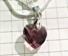 "Amethyst"" Glass Crystal Heart Boxed Sterling Silver Snake Necklace 22""+""Light"