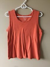 Christopher and Banks Large Blouse Shirt 100 Cotton Tank Orange Green Womens