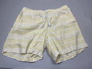 J.Jill Love Linen Large L Yellow Striped Linen Elastic Waist Shorts Pull On