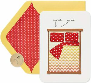 Papyrus Love Aniversary card - 3D Fabric Bed & Pillows - Your Side, My Side