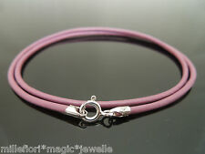 """2mm Purple/Pink Leather & Sterling Silver Necklace Or Wristband 16"""" 18"""" 20"""" 22"""""""