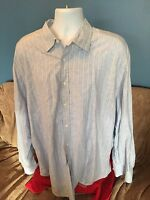 Men's  Shirt XXL By Pronto Uomo - Button Front Long Sleeve  Blue White Pattern