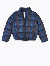 NEW M&S Padded Checked Coat Winter Jacket Blue Age 9-10 Years