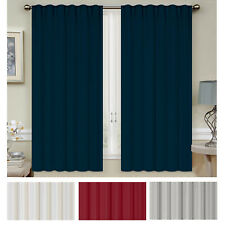 Mellanni Blackout Curtains 2-Panel 52x63 Thermal Insulated Rod Pocket 2 Tiebacks
