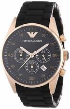 New Emporio Armani AR5905 Mens Black Silicone Rubber Rose Gold Chronoraph Watch