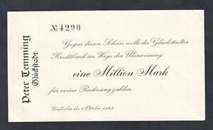 Glückstadt - Peter Temming - 1 Million Mark - blanco - bis 1.10.1923
