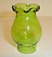 """Vintage Miniature Green Depression Glass Kerosene Oil Lamp Chimney - 7/8"""" Fitter"""