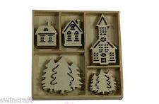 Craft Emotions BOX OF WOODEN SHAPES ORNAMENTS Houses Church Christmas 25pc 0322