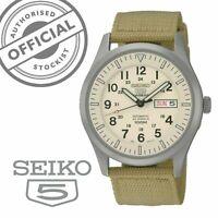Seiko 5 Sports Automatic Beige Canvas Strap Mens Watch SNZG07K1 RRP £249