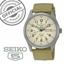 Seiko 5 Sports Automatic Beige Canvas Strap Mens Watch SNZG07K1 RRP £249
