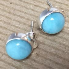 TRUTH HONOR amazonite .925 STERLING silver earrings 10mm made Poland stud post