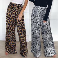 Women Leopard Wide Leg Trousers Ladies Baggy High Waisted Palazzo Casual Pants