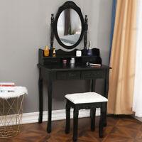 Vanity Makeup Dressing Table Set Stool 4 Drawer & Mirror Jewelry Wood Desk Black