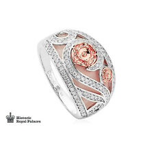 BRAND NEW Clogau 18ct White & Rose Gold Tudor Rose Pink Opal Ring £860 off! N