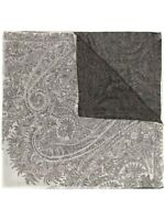 Etro Black And White Paisley 100% Cashmere Shawl 140 X 140
