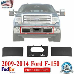 Front Bumper Guards Pads & License Plate Frame Bracket For 2009-2014 Ford F-150