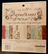 "Creative Imaginations Preposterous Alice In Wonderland Paper Pad 6x6.75 6"" NEW"