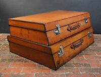 Magnificent Large Pair of Vintage Motoring Suitcases Angled Graduated