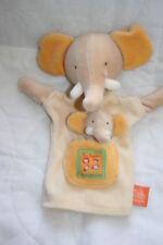 MOULIN ROTY DOUDOU ELEPHANT PLAT MARIONNETTE + TETE BEBE LES LOUSTICS JAUNE KOM9