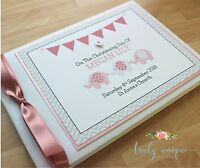 CIRCUS ELEPHANTS Personalised Christening/Baptism Guest Photo Book PINK BLUE