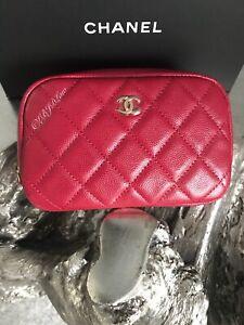 CHANEL 18B Dark Pink Caviar Coco Voyage Mini O-Case Beauty CC Pouch 17B Red Gold