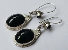 Ohrringe 4 Onyx - Cabochons 925 Silber um 1980 earrings silver