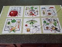 Woodsy Wonder Panel 23x42 J Wecker Frisch Blocks Bird Animal Bug Green
