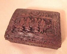 antique hand carved Chinese red lacquer cinnabar brass wood figural dresser box