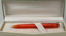 Levenger True Writer Fireball Orange Transparent & Chrome Ballpoint Pen - New