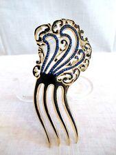 Art Deco 5 Rows~Sapphire Rhinestones~Open Work~Clear/Blk Celluloid Hair Comb VTG