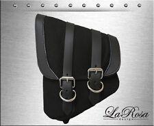 La Rosa Black Canvas Black Leather Trim Harley Softail Left Swing Arm Saddlebag