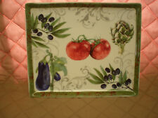 "New - Ceramic Square Serving Platter w/ Vegetables Party Serving Plate 12"" x 10"