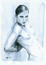 ACEO PRINT NUDO FEMMINILE DIPINTO ACQUERELLO - Watercolour Female Nude 140107