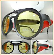 STEAMPUNK RETRO Style SUN GLASSES Black Frame Yellow Lens Red Leather Blinder