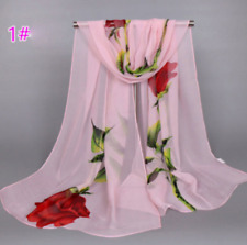 Women's Long Rose Flower Print Chiffon Scarf Soft Wrap Lady Shawl Silk pink
